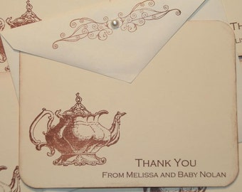 Tea Party Baby Shower,  Thank You Cards, Personalized Stationery, Baby Shower Thank you cards