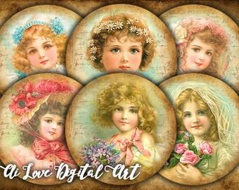 Digital collage sheet printable images circle 2.5 inch Vintage Girls