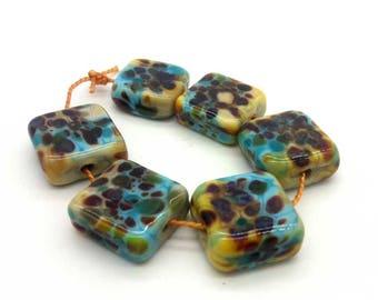 Lampwork beads handmade Beads supplies jewelry Beads for jewelry making Murano beads Set beads Beads SRA Beads yellow, blue.