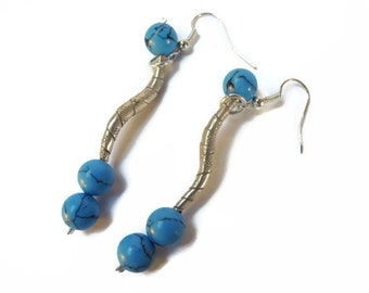 long blue earrings, long earrings, blue earrings, long blue, silver earrings, howlite earrings, Thai silver, modern design earrings