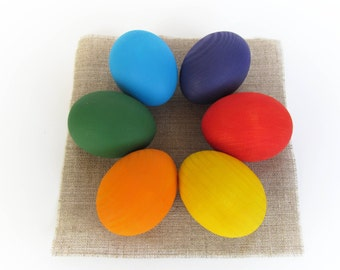 Easter gift - Wooden Rainbow EGGS - Easter eggs - Pretend Play - Play Food - Waldorf - Montessori Toddler Toy - Natural Toy
