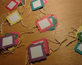 """Package of five handmade square 2""""x2"""" gift tags - any occasion"""