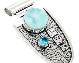 Gorgeous!!! Natural AAA+ Carbbian Larimar&Swiss Blue Quartz 925 Sterling Silver Overlay Gemstone Jewelry Pendant 2.80''