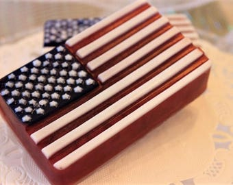 Flag Soap, 4th of July Soap, Patriotic Soap, Red, White & Blue, Father's Day Gift, Gift for Him, Gift for Her, 4th of July Party Favor, Flag