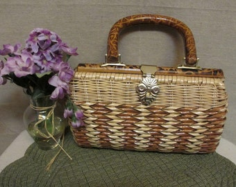 Vintage 1960's Simon Styled by Mister Ernest Rattan Wicker Basketweave & Bamboo Top Handle Purse Handbag