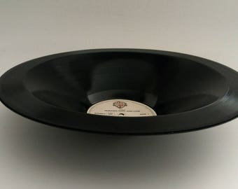 "a-ha Smooth Vinyl Record Bowl Hand Made from Upcycled Vinyl Record ""Hunting High and Low"""