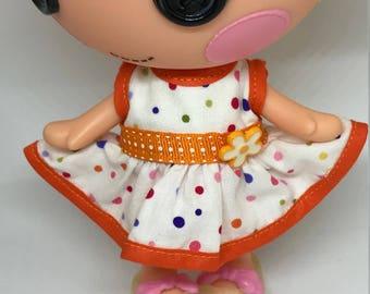 Handmade Dress for Lalaloopsy Little Doll // Little Sister // Doll Clothes // Stocking Stuffer // Under 10 // For Girls // Polka Dot