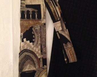 Men's 100% Silk Tie STRUCTURE.  Pattern with Arches and Columns. Made in the USA!