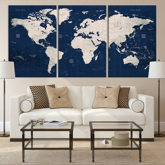Large world map world map wall art world map push pin world large world map world map wall art world map push pin world map canvas world map art print world map word map navy blue world map gumiabroncs Image collections
