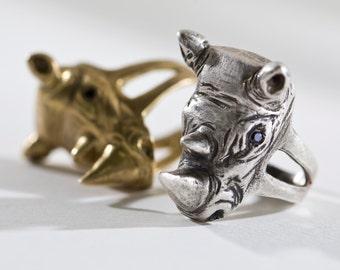 Rhinoceros Ring - Silver Rhinoceros Jewelry - Charitable Gift - Rhinoceros Head with Gemstones - Endangered Species - 3D Animal Head Ring