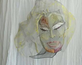 Large metal decor Marilyn Monroe Wall hanging Wire mesh sculpture Boho Modern Acrylic Custom portrait Living room Wabi Sabi