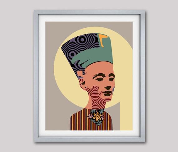 Queen Nefertiti Ancient Egyptian Poster, Celebrity Portrait Art Decor, Nefertiti Portrait