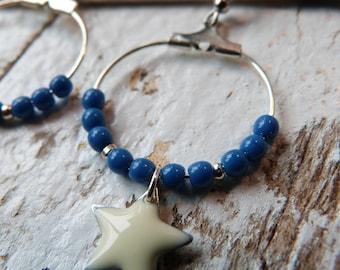 Earrings small hoops sequin White Star