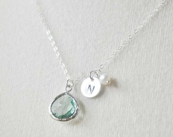 Customized Initial Glass Aquamarine Crystal Sterling Silver Necklace -Handstamped Birthstone Necklace, Freshwater pearl Accent, Mother's
