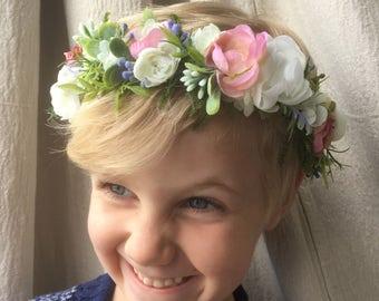 Bohemian Flower Crown, Bridal Flower Halo, Floral Hairpiece, Mommy & Me Crowns, Fairy Flower Crown, Woodland Flower Crown, Spring Crown