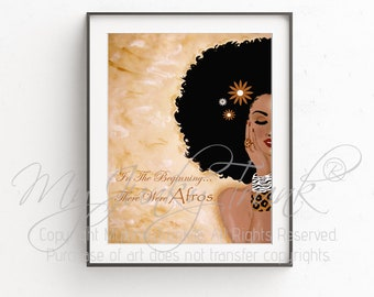 SALE-  In The Beginning...There Were Afros-- African American Art Natural Hair Art Black Art Afro Print