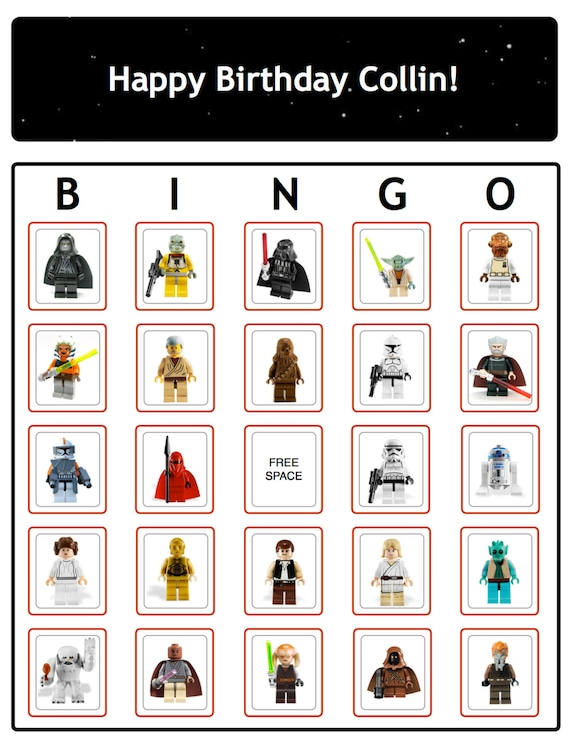 Bingo Star Wars Birthday Party Game Cards ... Now with THE