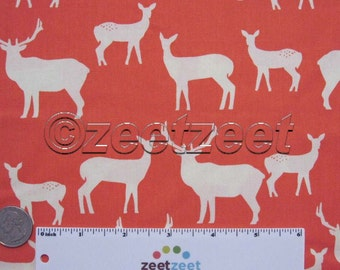 Sale Birch Fabrics ELK FAMILY Coral, Woodland Deer Silhouettes - ORGANIC Cotton Quilt Fabric by the Yard