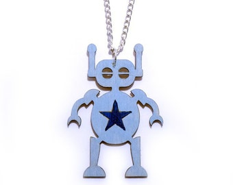 Wooden Toy Robot Necklace