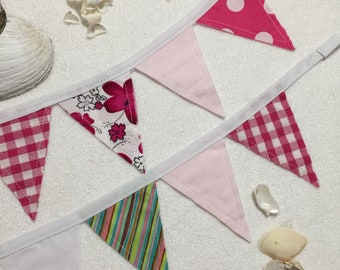 Fabric Bunting | Pink Bunting | Nursery | Banner | Baby Bunting | Flags | Assorted Pink Flags | Mini Flag | Mini Pennant | Long Bunting