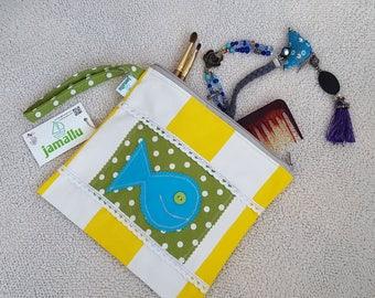 Zipper pouch, wristlet, toiletry bag, applique bag, cotton zipper pouch, unique and handmade, fish applique