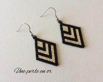 Diamond earrings in Miyuki glass beads