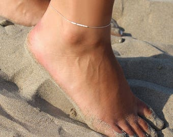 Ultra thin sterling silver anklet - White anklet - Ankle bracelet beach - ankle bracelet silver - anklet beach jewelry -delicate thin anklet