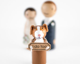 Cake Topper with Dog - couple with dog - dog cake topper - peg doll wedding cake topper - dog wedding sign - peg people cake topper with dog