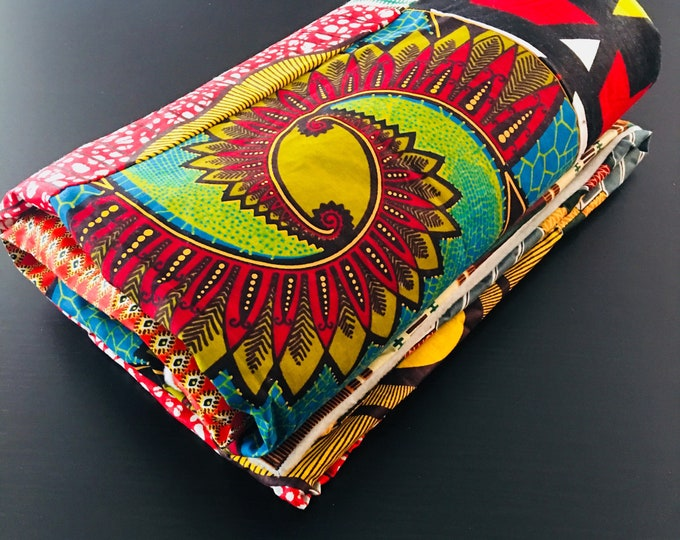 """Featured listing image: African throw blanket - multi colored  (45X 62"""")- light grey fleece"""