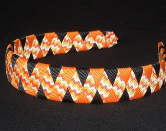 Chevron Halloween Woven Headband, Black and Orange Woven Headband, Woven Headband, Chevron Headband