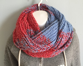 Red and Blue Striped Scarf
