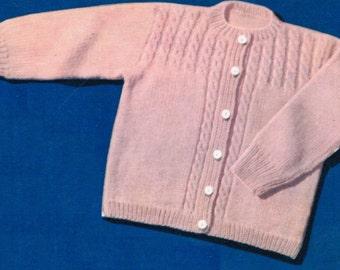 Toddler cable yoked sweater knitting pattern PDF / Cabled yoke baby cardigan pattern / Vintage baby cardigan pattern / baby jacket