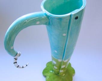 Colorful aqua turquoise & Lime polka dot pottery Vase or Pitcher whimsical home decor :) sea glass colored polka-dot ceramic vessel