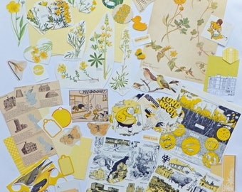 Yellow Scrapbooking Paper Pack, Collage papers, paper scraps, Paper Ephemera pack, 82 pieces