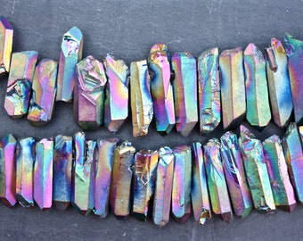 quartz beads, rainbow quartz, natural quartz, quartz points, natural points, Crystal beads, raw quartz,  electroplated quartz