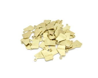 Tiny Raw Brass Georgia State Charms Pendants, 6 pcs, Made in the USA