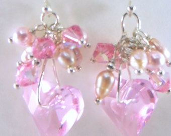 Wire Wrapped Swarovski Wild Heart in Pink Rose on all fine sterling silver Bridal or Bridesmaid Earrings