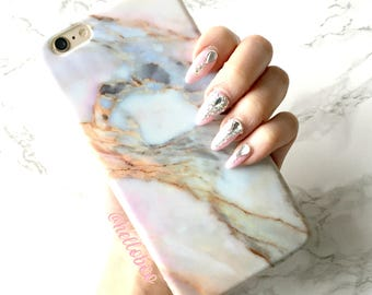 Marble iPhone Case, VIOLET SKY Rose Marble Case, iPhone 8 plus Case, iPhone 7 Plus Case, iPhone X Case, iPhone 6 6s, Gift for Her Phone Case