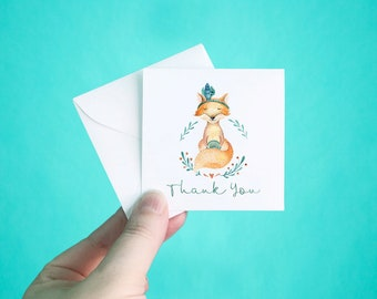 """Set of 12 Thank You Cards with Envelopes, Gypsy Fox Thank You Note Cards, Heart Thank You Mini Note Cards, Thank You Notes, 3 x 3"""""""