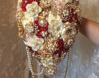 Tear Drop Cascading Brooch Bouquet, Customize with your wedding colors, Reserve with 150.00 deposit