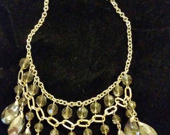 Necklace Statement Adjustable Sparkly Faceted Glass Grey Gold Beads 19 inches