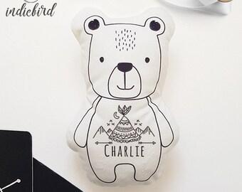 Personalised Bear Plush Rattle or Pillow, baby rattle, plush toy, Bear pillow, Monochrome, Tee Pee, Boy, keepsake, Baby shower gift
