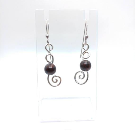 Gemstone Earrings | Sterling Silver Earrings | Hematite Jasper Earrings | Boho Earrings | Natural Stone Earrings | Hammered Silver Earrings