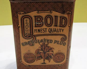 Antique Qboidt Finest Quality Granulated Plug Tobacco Tin