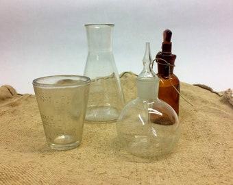 4pcs vintage laboratory glass bottles glass dish chemistry