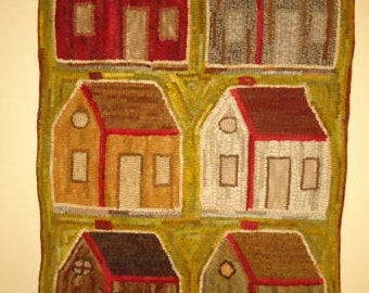 SCHOOLHOUSE (or house) rug hooking pattern on primitive linen