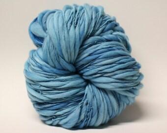 Thick and Thin Yarn Handspun Merino Wool Slub  tts(tm) Merino Hand dyed Half-Pounder Blue 03 Super Bulky