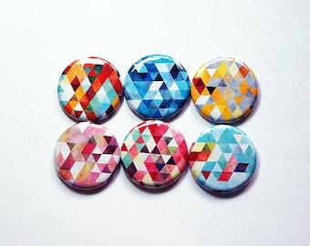 Geometric magnets, Fridge magnets, stocking stuffer, Locker Magnets, Geometric Design, Abstract, Round Magnets, Magnet set (8388)