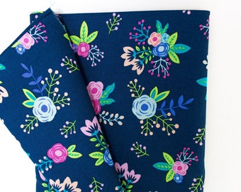 Spring Flower on Navy, fabric, Fabric By the Yard, apparel fabrics, 100% cotton, floral, bright, pink