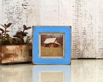 4x4 Square Photo Picture Frame in 1x1 Flat Style with Super Vintage Blue Finish - IN STOCK -  Same Day Shipping - 4x4 Picture Frame Blue